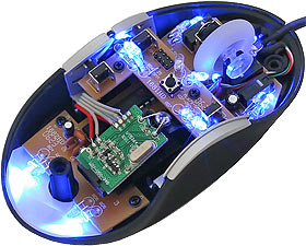 Intelliscope mouse lit up blue with the top removed