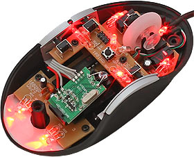 Intelliscope mouse lit up red with the top removed