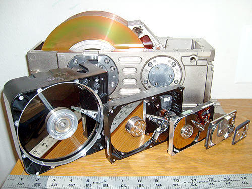 Six sizes of hard drive