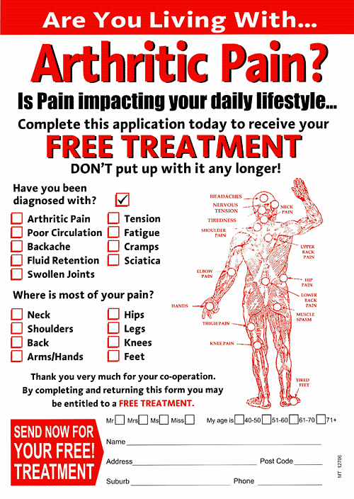 Front of questionable pain-relief flyer