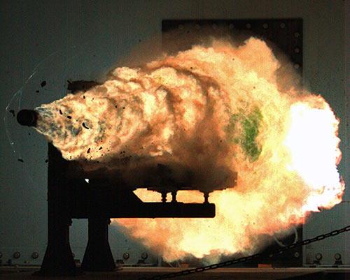 Railgun muzzle blast