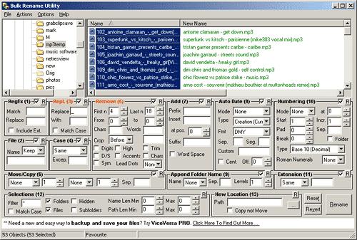 Bulk Rename Utility interface