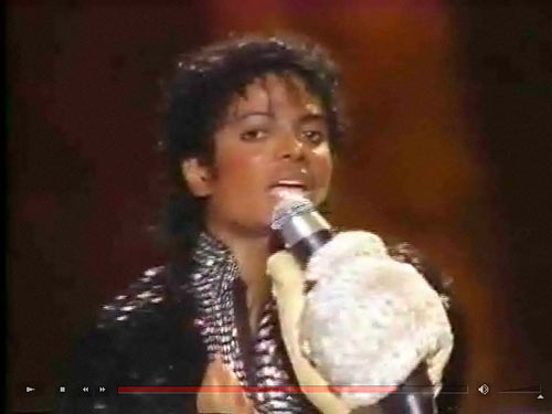 Michael Jackson with giant glove
