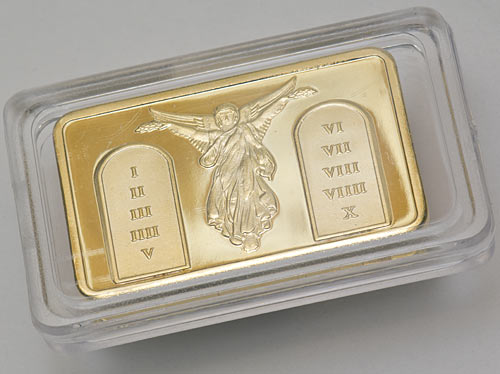 Fake gold bar in display case