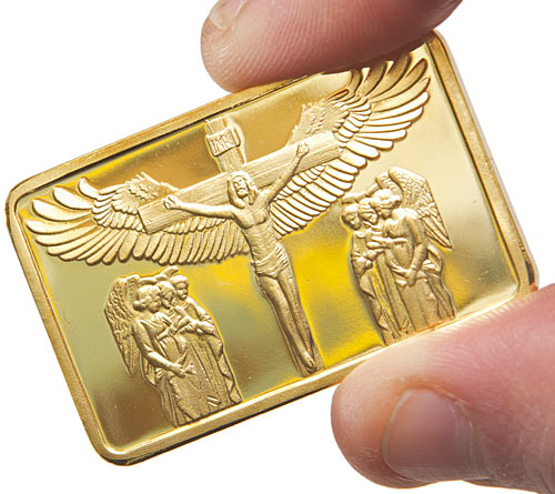Small fake gold bar with a winged Jesus on it for some reason