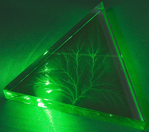 Laser beam through Lichtenberg figure