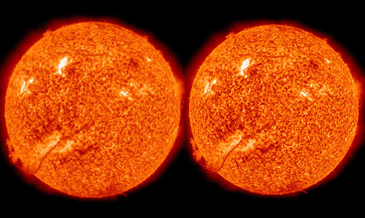 Apparent change in size of the sun
