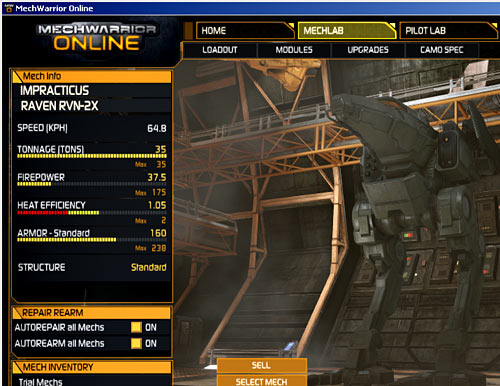MWO 'Mech customisation