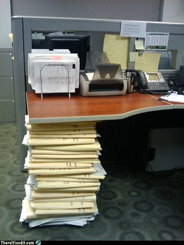 Stacked-paper desk support