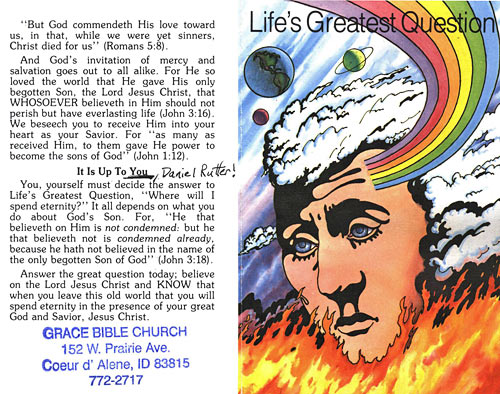 Side one of religious tract