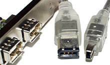 FireWire ports and cable