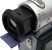 Viewfinder and Memory Stick slot