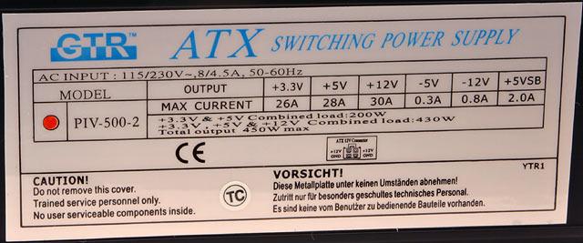 Quick Shot review 16: GTR 450W-LI PSU