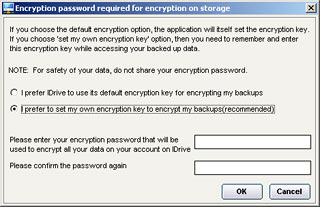 Entering an encryption key
