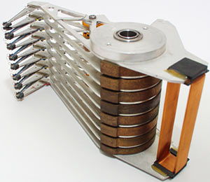 Old hard drive head assembly