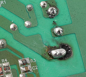 Fixing a circuit board with a solder blob