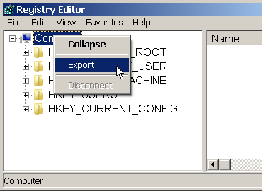 Exporting the registry