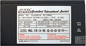 GTR 600w Power supply - specifications