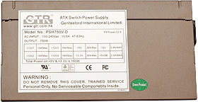 GTR 750w Power supply - specifications