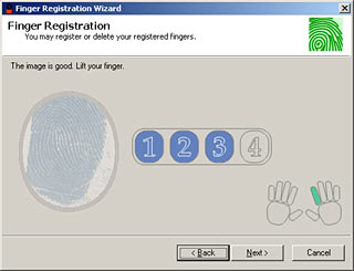 Registering a finger