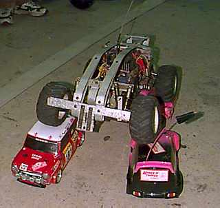 Big R/C car dominates small R/C cars